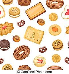 pain épice, illustration., modèle, vecteur, biscuits, gaufre, biscuit chocolat, différent, seamless, puce, biscuits