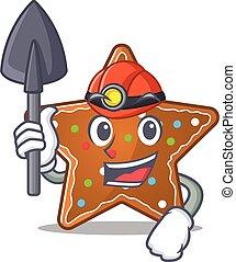 pain épice, intelligent, étoile, caractère, mineur, conception, dessin animé, frais