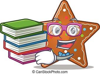 pain épice, intelligent, étoile, livre, mascotte, étudiant, dessin animé, frais