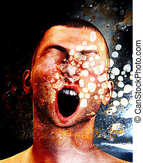 Pain And Torment - Concept image showing a screaming man in ...