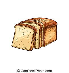 pain, blanc, croquis, toast, tranches