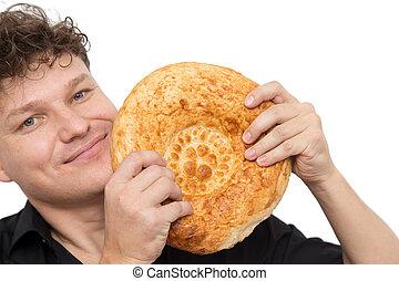 pain blanc, fond, homme