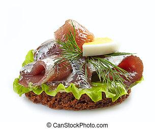 pain brun, sandwich, anchois