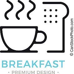 pain, café, contour, tasse, toast., coupé, vecteur, mince, icon., ligne, coffee., logo., petit déjeuner, icône