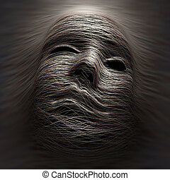 Pain - Colored lines covering an imaginary face with...
