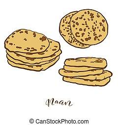 pain, coloré, dessin, naan