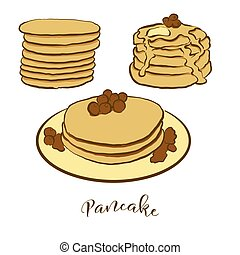pain, coloré, dessin, pan cake