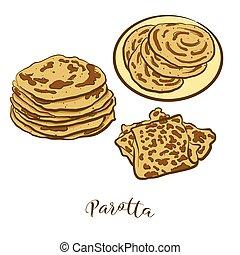 pain, coloré, dessin, parotta