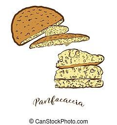 pain, coloré, panfocaccia, dessin