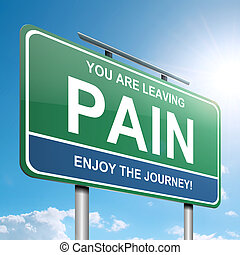 Pain concept. - Illustration depicting a green roadsign with...