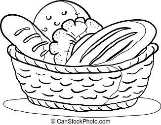 pain, dans, a, panier, contour