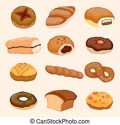 pain, dessin animé, icône