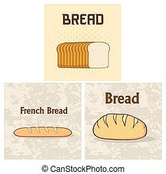 pain, ensemble, dessin animé, collection, pain