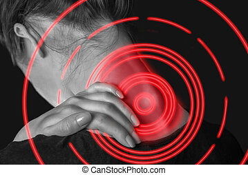 Pain female neck of red color - Unrecognizable woman touches...