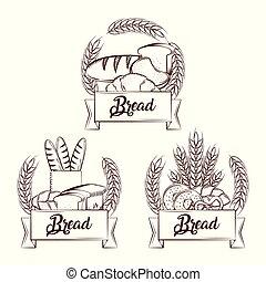 pain, frais, ensemble, croissant, baguette, entier, beignet, bretzel, bannière, vendange