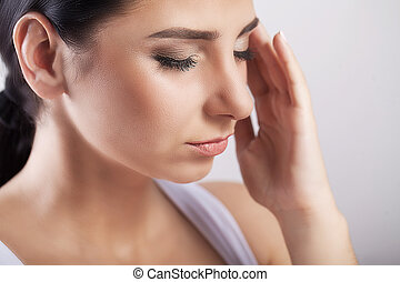 Pain. Health And Pain. Stressed Exhausted Young Woman Having...