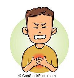 pain., illustration., poitrine, vecteur, arrière-plan., angine, coeur, isolé, blanc, sentiment, plat, homme, attack., jeune