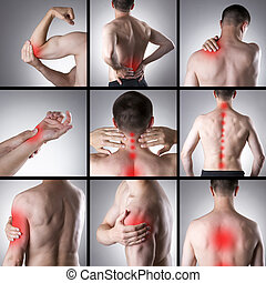 Pain in a man's body. Collage of several photos with red...