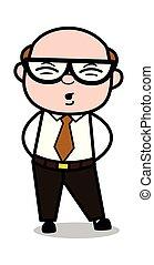 Pain in Back - Retro Cartoon Office old Boss Man Vector Illustration