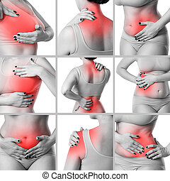 Pain in different woman's body parts, chronic diseases of the female body, collage of several photos isolated on white background