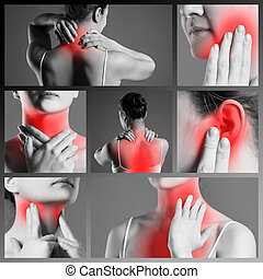 Pain in different woman's body parts, chronic diseases of the female body, collage of several photos