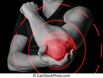Pain in elbow, pain of red color - Man holds his the elbow...
