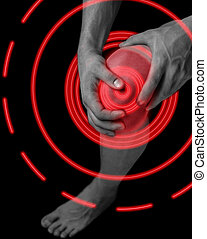 Pain in male knee joint
