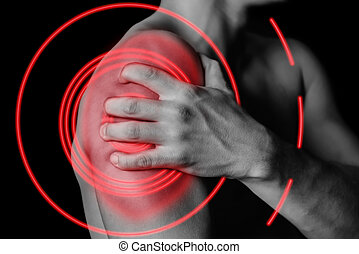 Pain in shoulder, pain of red color - Unrecognizable man...