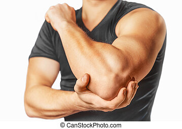 Pain in the elbow joint - Man holds his the elbow joint,...