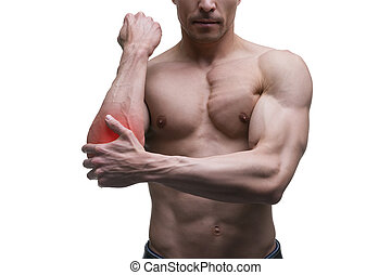 Pain in the elbow, muscular male body, isolated on white background