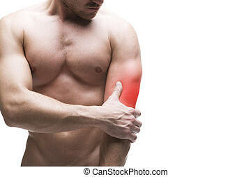 Pain in the elbow. Muscular male body. Isolated on white...