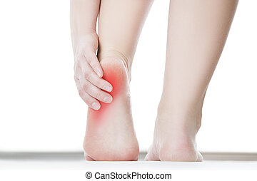 Pain in the female foot - Pain in the foot. Massage of ...