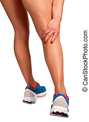 Female jogger with pain in her lower leg, isolated in white