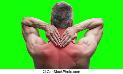 Pain in the neck, elderly muscular man with backache on green background, chroma key