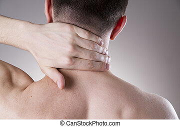 Pain in the neck. Man with backache. Pain in the man's body