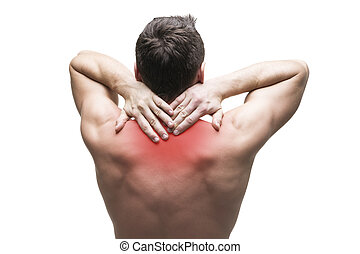 Pain in the neck. Man with backache. Muscular male body. Isolated on white background