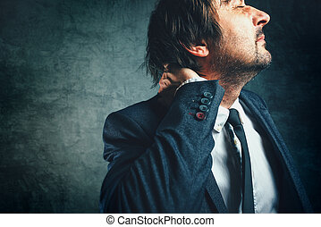 Pain in the neck of a businessman