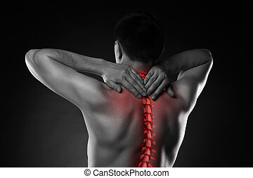 Pain in the spine, a man with backache, injury in the human back and neck