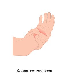 Pain in the wrist, man holding her wrist pain because ...