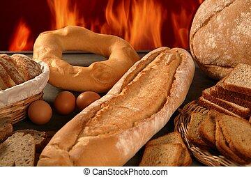 pain, nature morte, à, varié, formes, et, boulangerie, brûler
