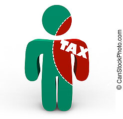 A person with a portion marked to cut out of him symbolizing the pain of taxes