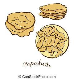 pain, papadum, coloré, dessin