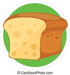 pain plat, vecteur, rond, icône