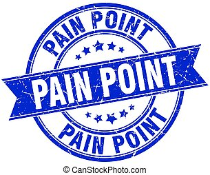 pain point round grunge ribbon stamp