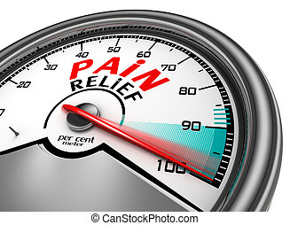 pain relief meter indicate hundred per cent, isolated on white background