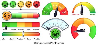 Pain scale meter. Smile and sad emotion measure, no pain and worst pain scales vector set. Collection of modern tools for measuring level or degree of severity and intensity of pain with smiley faces.