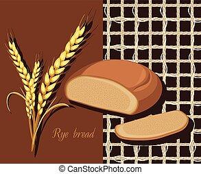 pain seigle, et, blé, ears., étiquette