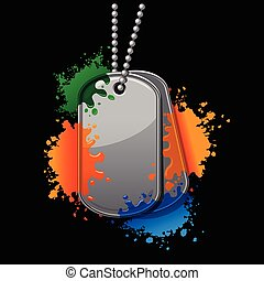 Army tags with chain and paintball splatter