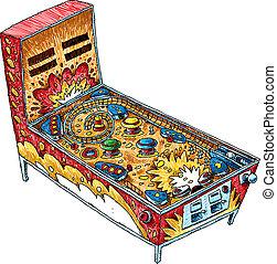 Painball Machine - A cartoon pinball machine drawn in a...
