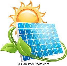 painel, ícone, solar, sol